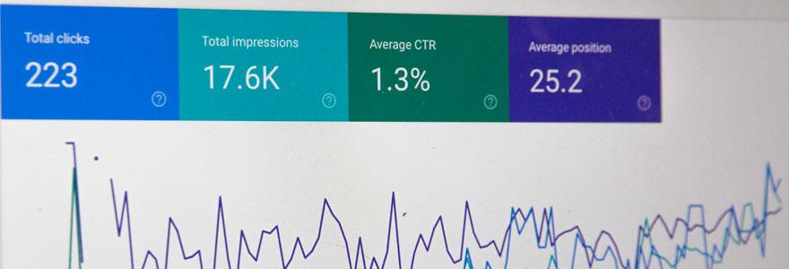 photo d'un exran montrant des statistiques Google